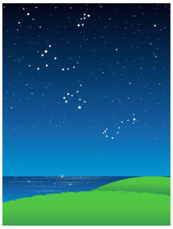 This illustration is a common natural landscape. Green Landscape With Blue Sky Stock Vector - 15881701