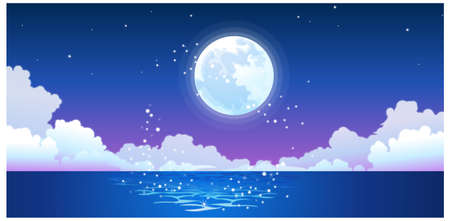 This illustration is a common natural landscape. Full moon reflecting on ocean Vector