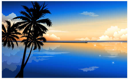 This illustration is a common natural landscape. Palm at dawn Vector