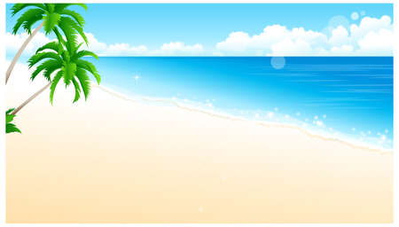 This illustration is a common natural landscape. Idyllic Beach with Palm Tree Stock Vector - 15901645