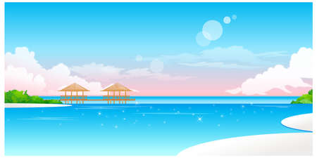 This illustration is a common natural landscape. Idyllic Beach with jetty Stock Vector - 15881401