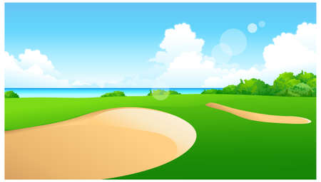 This illustration is a common natural landscape. Golf Course Stock Vector - 15881551
