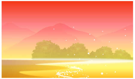 This illustration is a common natural landscape. Mountain and sunset Stock Vector - 15881611