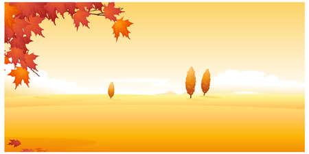 This illustration is a common natural landscape. Autumn leaves and landscape Stock Vector - 15881520