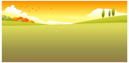 This illustration is a common natural landscape. Green Landscape Stock Vector - 15881527