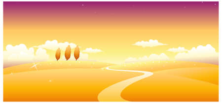 This illustration is a common natural landscape. Path over landscape Vector