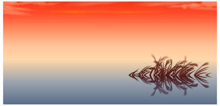This illustration is a common natural landscape. sunset over the Lake Stock Vector - 15900891