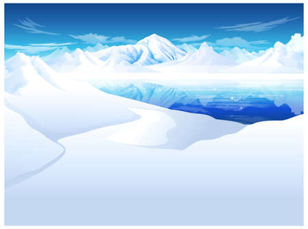 this illustration is the general nature of the winter landscape. snowcapped Mountain Stock Vector - 15901584