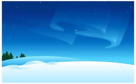 this illustration is the general nature of the winter landscape. Snow landscape and Aurora Borealis in sky Stock Vector - 15900764