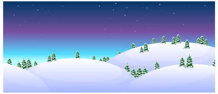 this illustration is the general nature of the winter landscape. Fir trees over snowcapped mountain