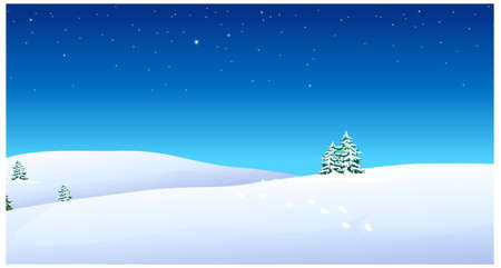 this illustration is the general nature of the winter landscape. Footprints over snow mountain Stock Vector - 15881084