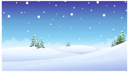 this illustration is the general nature of the winter landscape. Fir trees over snow landscape