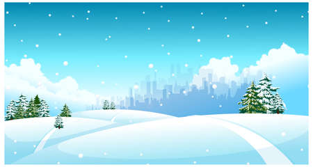 curved path: this illustration is the general nature of the winter landscape. City skyline over snow landscape
