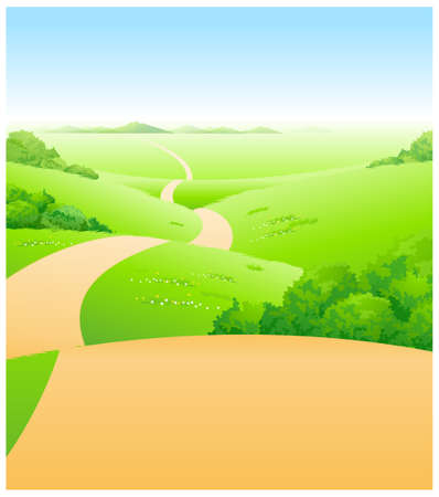 curved path: This illustration is a common natural landscape. Path over green landscape