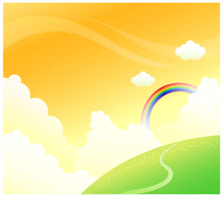 curved path: This illustration is a common cityscape. Green mountain with rainbow in sky