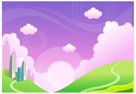 This illustration is a common natural landscape. Buildings over the Green mountain Stock Vector - 15881715