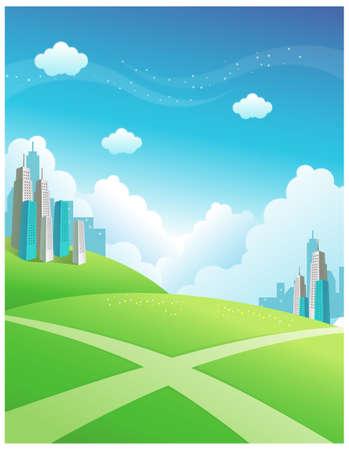 unsure: Questa illustrazione � un paesaggio naturale comune. Edifici e percorso di attraversare la montagna verde