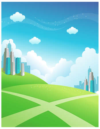 This illustration is a common natural landscape. Buildings and cross path over the Green mountain Stock Vector - 15887397