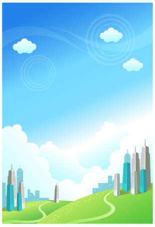 This illustration is a common natural landscape. Buildings over the Green mountain Stock Vector - 15900894