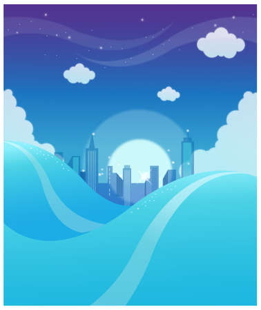 This illustration is a common natural landscape. City skyline background Stock Vector - 15900945