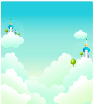This illustration is a common natural landscape. Tower in clouds Stock Vector - 15900775