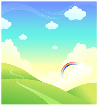 curved path: This illustration is a common natural landscape. Green mountain with rainbow in sky Illustration