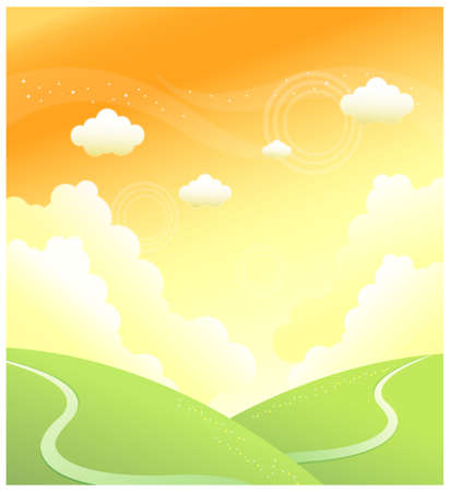 curved path: This illustration is a common natural landscape. path over Green mountain and sky Illustration