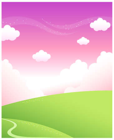 This illustration is a common natural landscape. path over Green mountain and sky Illustration