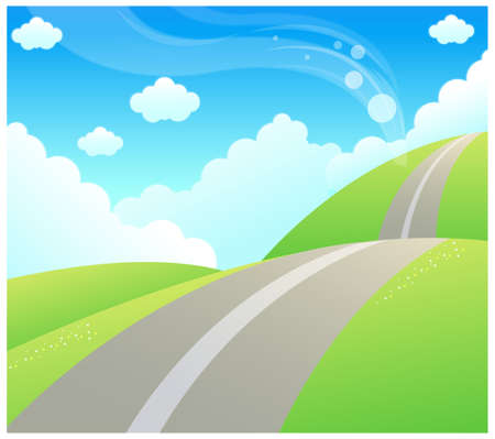 This illustration is a common natural landscape. Road over Green mountain and sky Stock Vector - 15881556