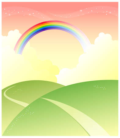 This illustration is a common natural landscape. Green mountain with rainbow in sky Vector