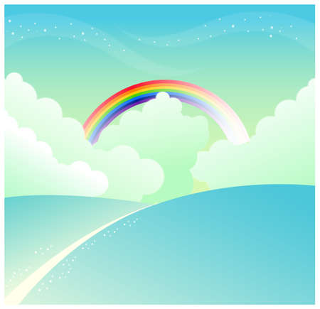 curved path: This illustration is a common natural landscape. mountain slope and rainbow in sky Illustration