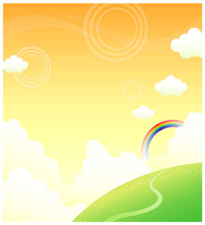 curved path: This illustration is a common natural landscape. Green mountain and rainbow in sky Illustration