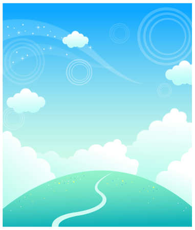 This illustration is a common natural landscape. Path over mountain and sky Stock Vector - 15881683