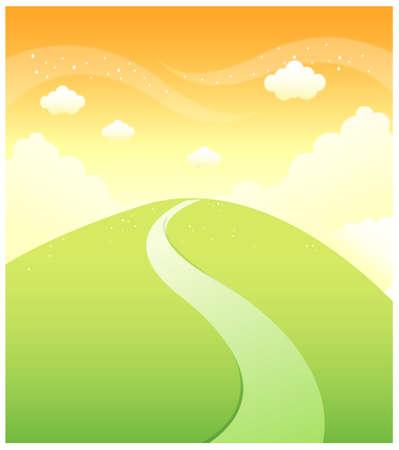 ce: Cette illustration est un paysage naturel commun. Chemin sur la montagne verte et le ciel Illustration