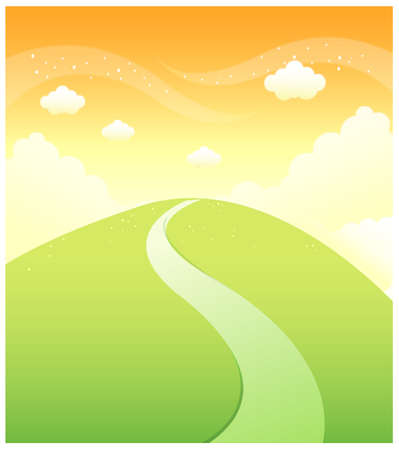 curved path: This illustration is a common natural landscape. Path over Green mountain and sky