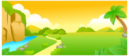 curved path: This illustration is a common natural landscape. Path over Green landscape and lake