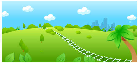 This illustration is a common natural landscape. Railroad track over green landscape Stock Vector - 15880420