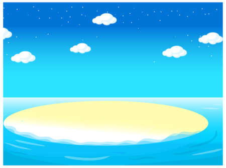 This illustration is a common natural landscape. water landscape Stock Vector - 15881623