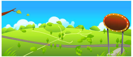 This illustration is a common natural landscape. Road and small path over green landscape Stock Vector - 15881196