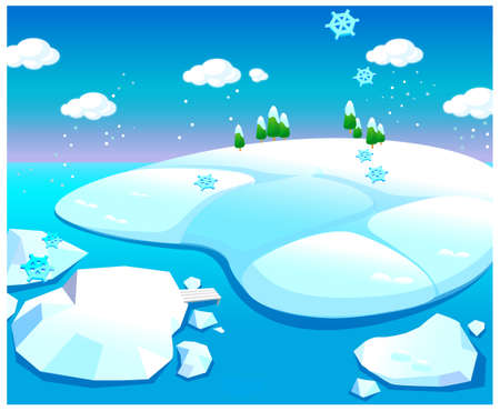 This illustration is a common natural landscape. Water and snow landscape Stock Vector - 15881041