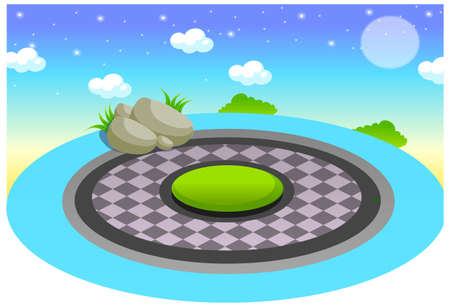 This illustration is a common natural landscape. Pool at night Vector