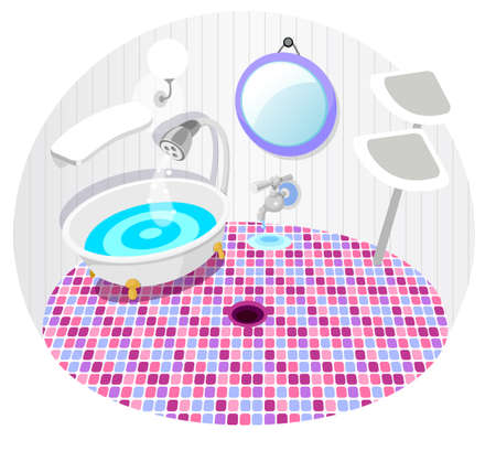 This illustration is a common natural landscape. Bathroom with bath tub  Stock Vector - 15881325