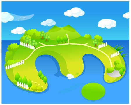 This illustration depicts a young child's dream world. Green island Stock Vector - 15881241