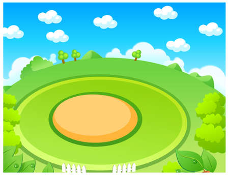 This illustration depicts a young child's dream world. Green landscape and playground Stock Vector - 15880994