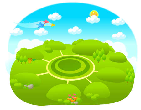 This illustration depicts a young child's dream world. Different path over green landscape Stock Vector - 15881689