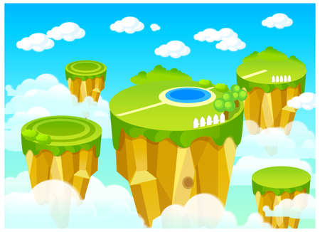 This illustration depicts a young child's dream world. Path over green landscape on top of the  mountain Stock Vector - 15900951