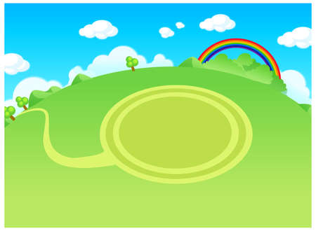 This illustration is a common cityscape. Green landscape and circle path Stock Vector - 15881279