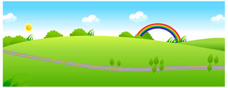 This illustration is a common natural landscape. Path over the green landscape and rainbow Stock Vector - 15880930