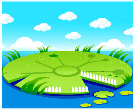 This illustration is a common natural landscape. Pond background Stock Vector - 15880682