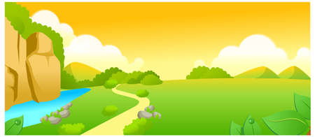 curved path: This illustration is a common natural landscape. Green landscape and lake